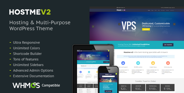Hostme v2 Responsive WordPress Theme