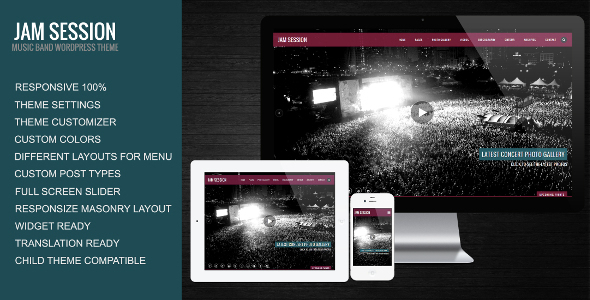 JamSession Responsive Music Band WordPress Theme