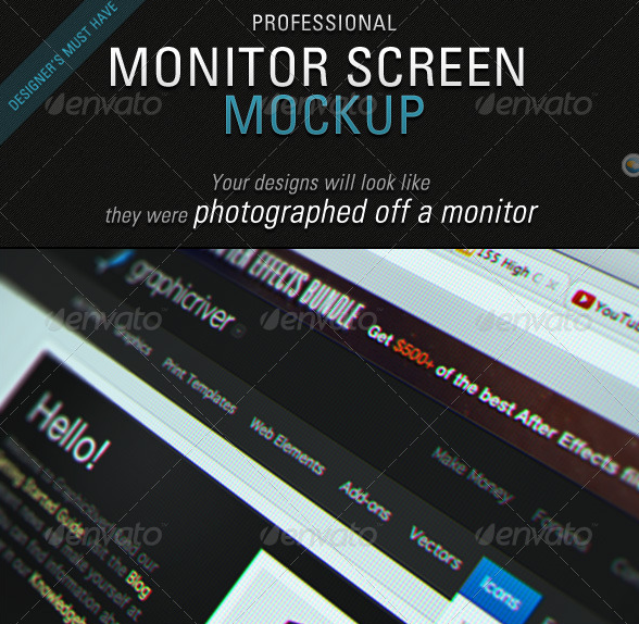 Monitor Screen Mockup - 8 Realistic Effects