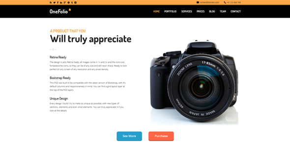 OneFolio - One Page WordPress Theme