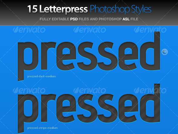 Pressed - Letterpress Photoshop Styles