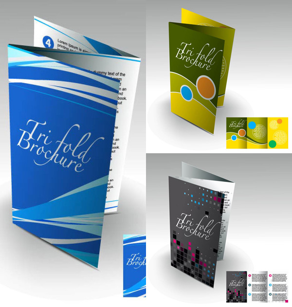 attractive brochure template stereoscopic display vector free download