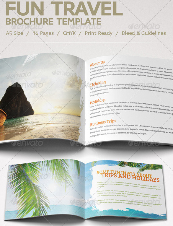 40 best travel and tourist brochure design templates 2018 for Fun brochure templates