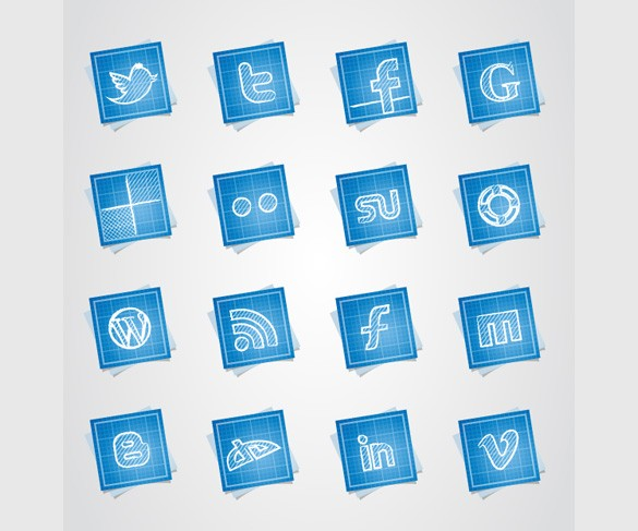 16-blueprint-style-social-media-icons-set