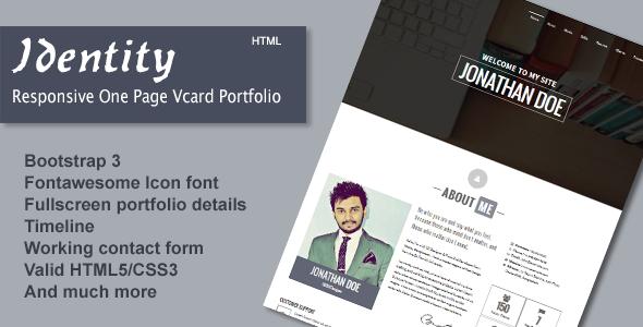 Identity - Responsive One Page Vcard Portfolio
