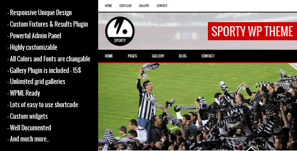 SPORTY-Responsive WordPress Theme for Sport Clubs