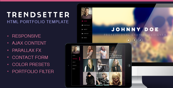 Trendsetter One Page Portfolio vCard