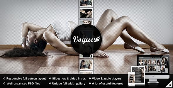 Vogue PSD - Responsive Fullscreen Photo Template