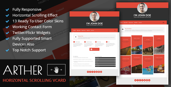 arther-bs3-horizontal-scrolling-vcard-template