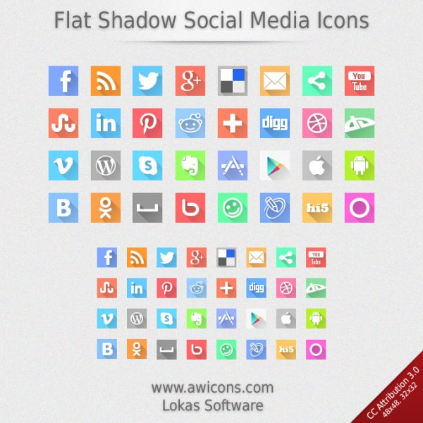 flat-shadow-social-media-icons