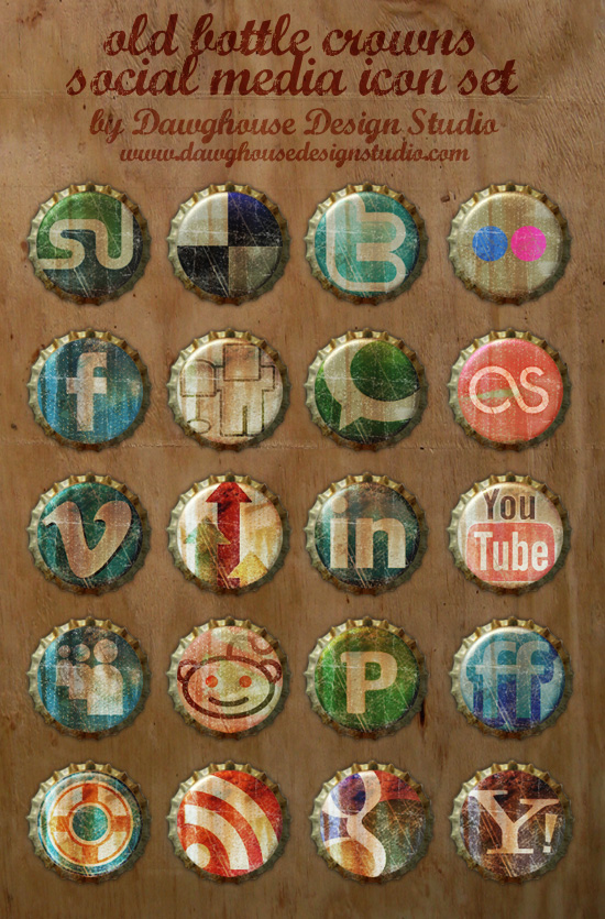 free-social-media-icons-old-bottle-crowns-icon-set