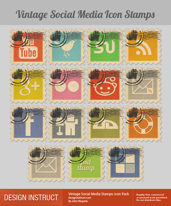 vintage-social-media-stamps-icon-pack