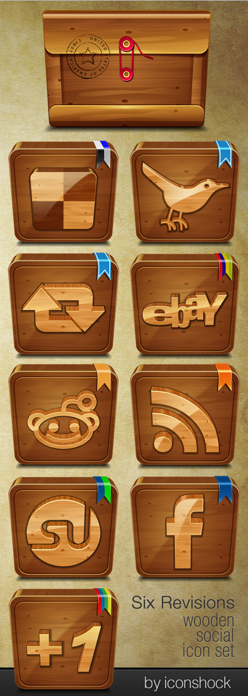 wooden-social-free-icon-set