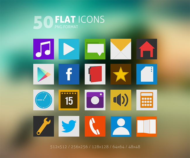 50 Flat Icons Pack