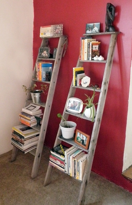 A broken ladder becomes shelves