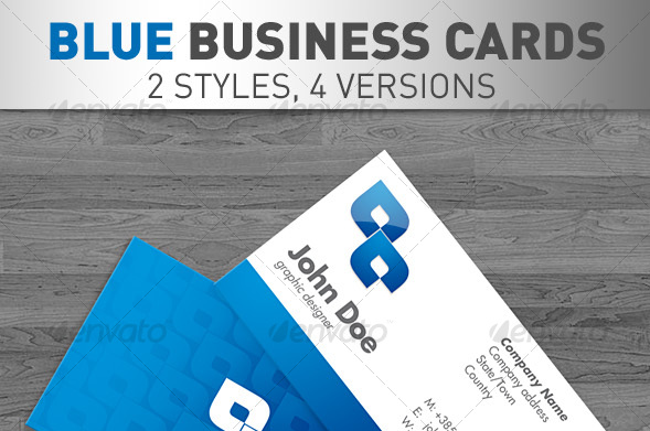 Blue Business Cards 4 VERSIONS