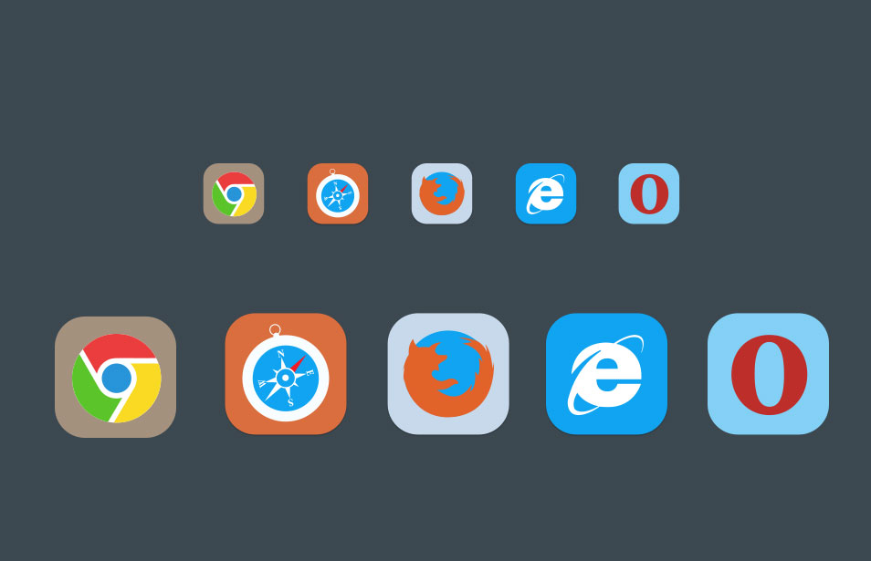 Flat Browser Icons