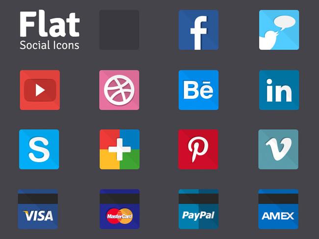 Flat Social Icons - Thiago Marques