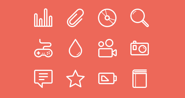 Flat Stroke Line Icons Set