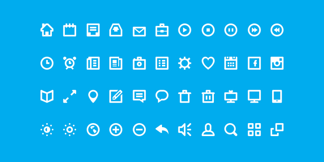 Flat White Icon Glyph Set