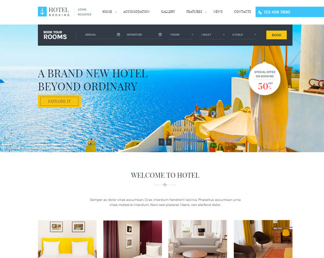 20 best html responsive booking templates for travel for Hotel booking design