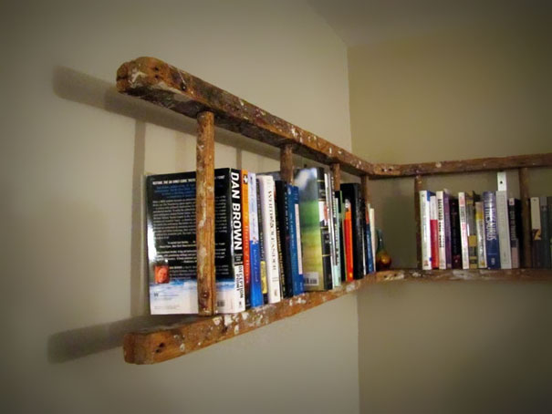 Old Ladder Into Bookshelf -1