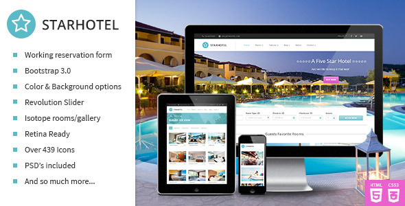 20 best html responsive booking templates for travel for Site reserver hotel
