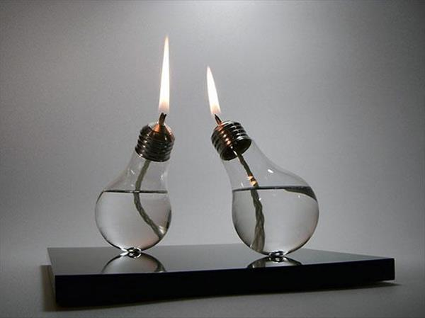 Turn light bulb into oil lamp