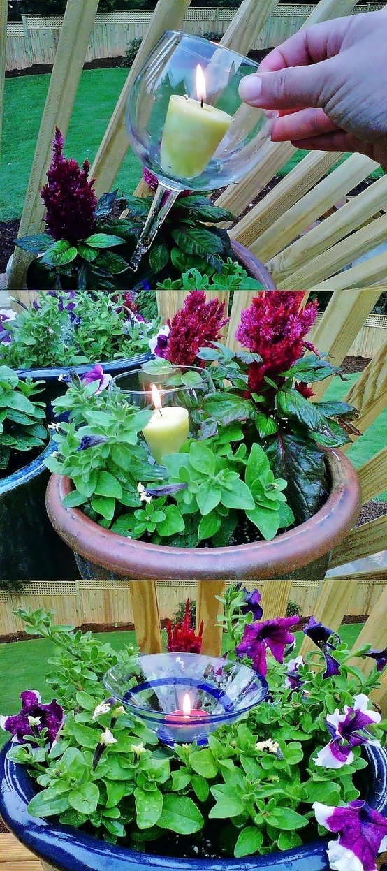 Use any broken stemware as candle holders in plants