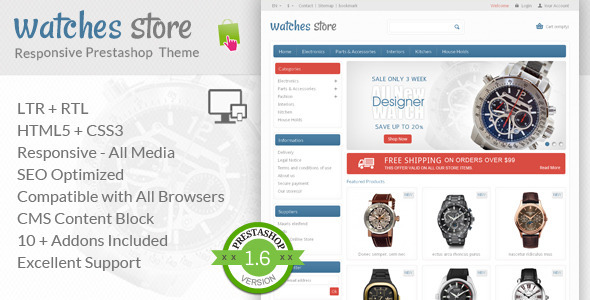 Watches Store - Prestashop Responsive Theme