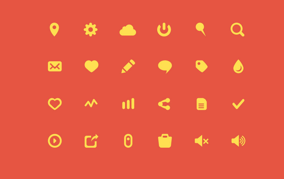 Yellow Flat Icons Set