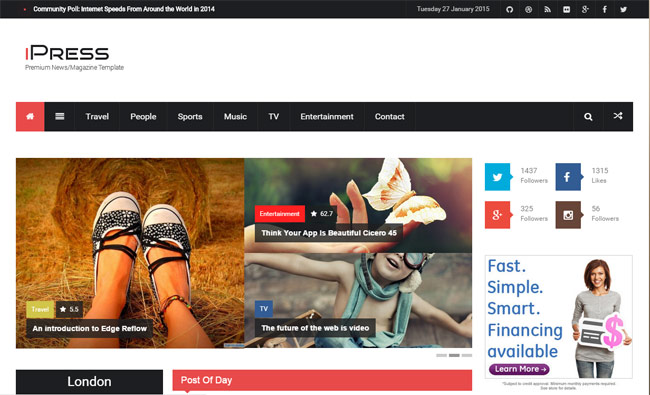 ipress-flat-blog-magzine-news-wordpress-theme