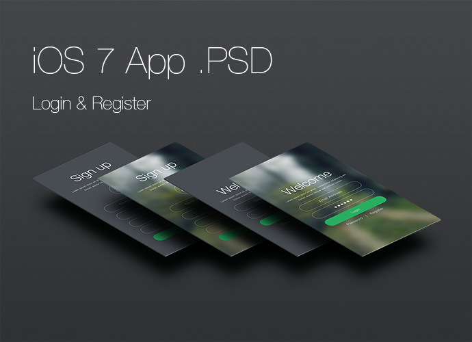 psd  login and register screen app for ios 7
