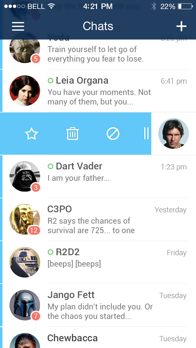 PSD Messenger App UI Kit for iOS 7