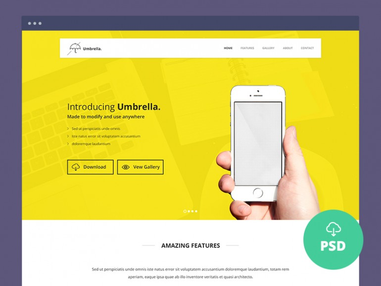 umbrella-app-landing-page-psd-template