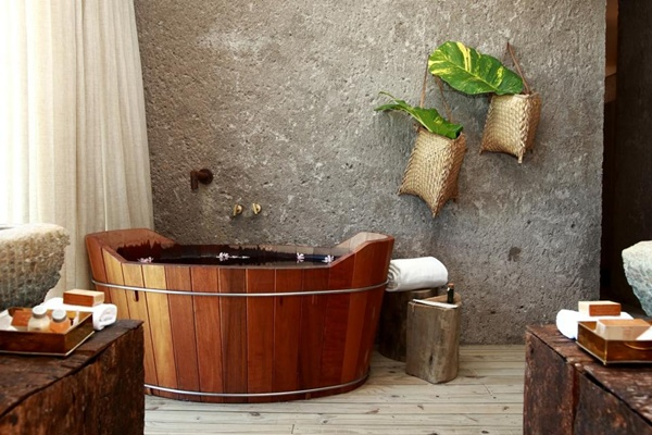 wooden bathtubs