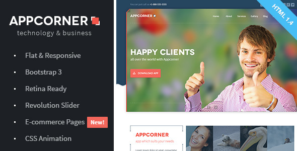Appcorner - Business & Technology HTML Template