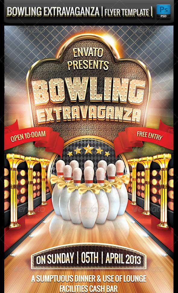 25 beautiful premium flyer psd templates designmaz bowling extravaganza flyer template pronofoot35fo Images