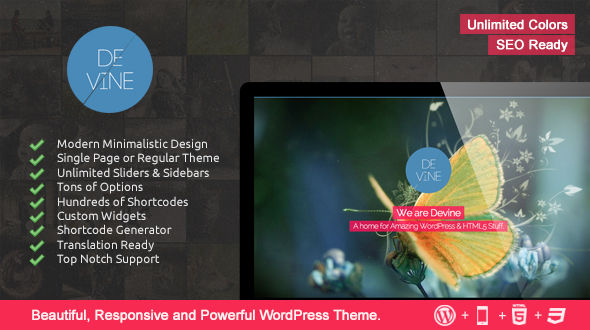 Devine – Responsive One Page WP Theme