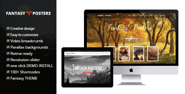 Fantasy Posters - One Page Fantasy WordPress Theme