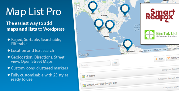 Map List Pro Searchable location directory and map