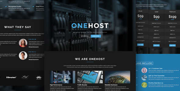 Onehost - One Page Responsive Hosting Template