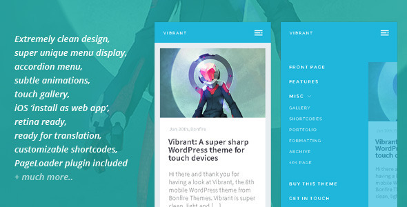 Vibrant- A Super Sharp WordPress Mobile Theme
