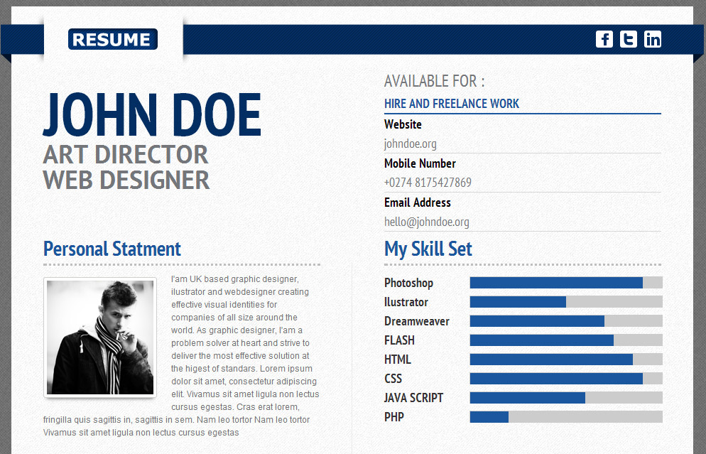 Best Resume  Cv Html Templates For Personal Business Card
