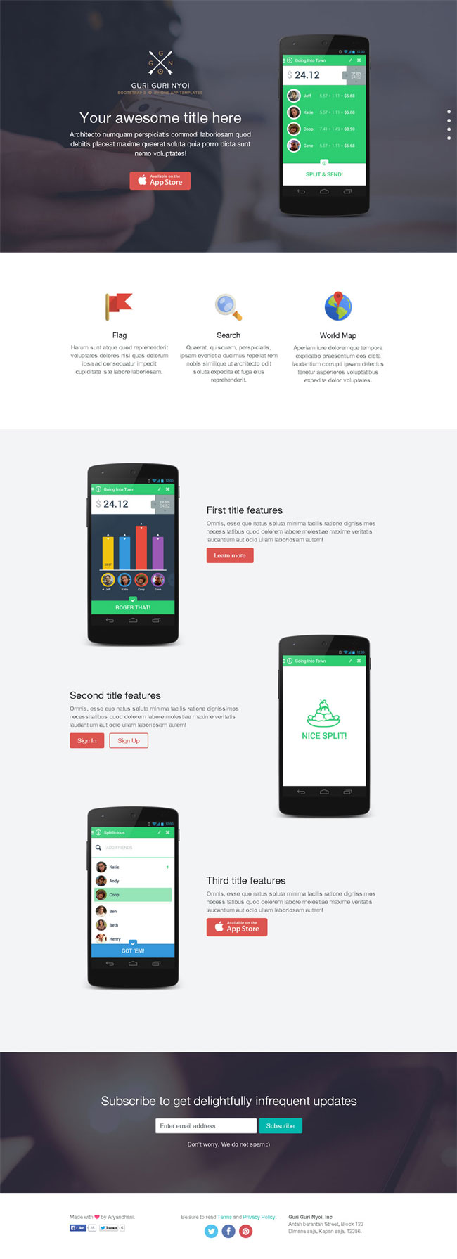 Bootstrap 3 App Showcase One Page
