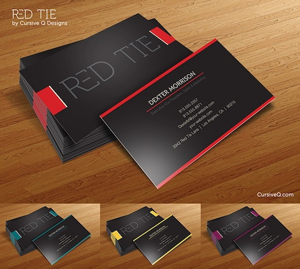 55 free creative business card templates designmaz business card template red tie reheart Choice Image