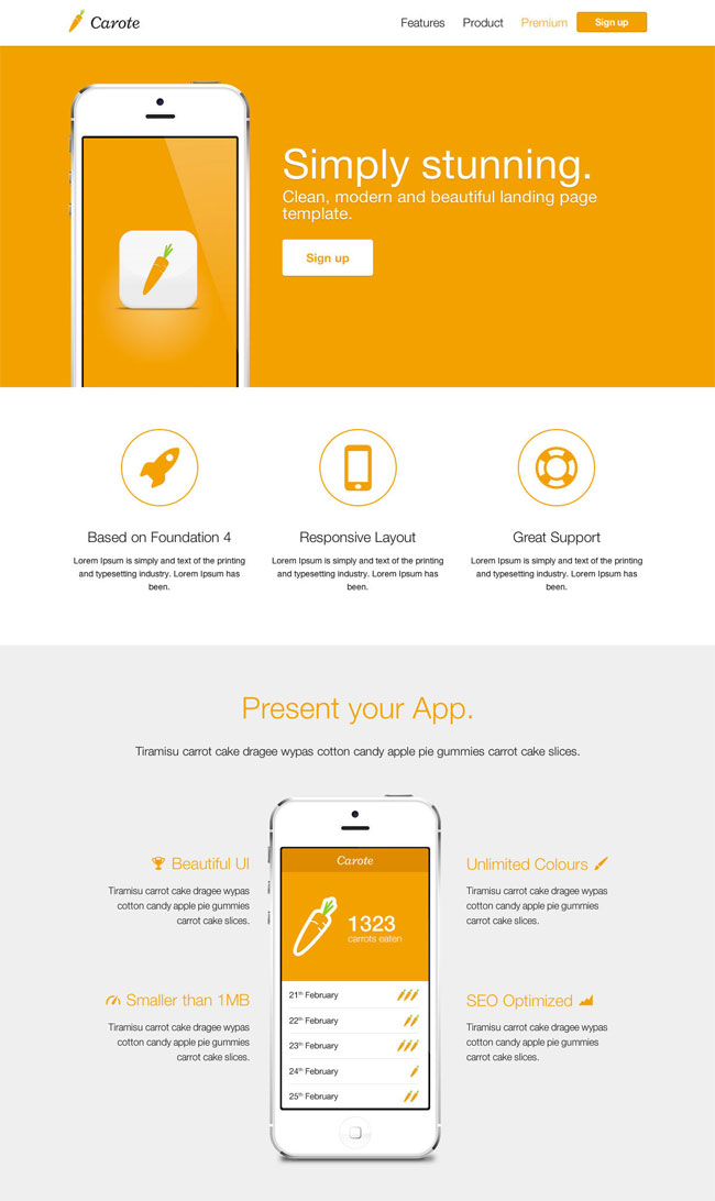carote-responsive-app-landing-page