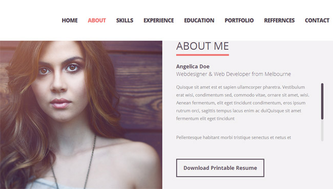 responsive resume personal portfolio temp muse web template website free