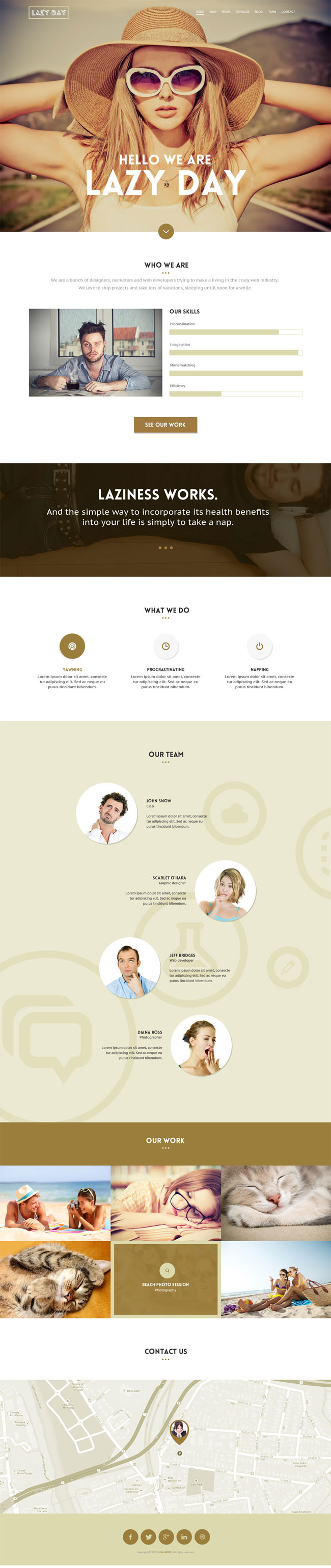 Lazy Day - Free PSD One page template