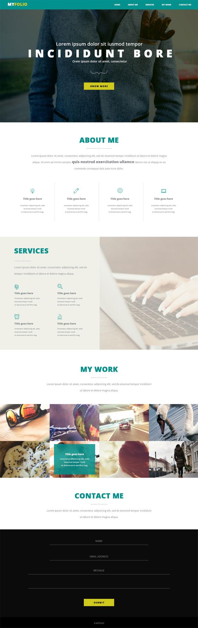 MYFOLIO - Free One Page Portfolio PSD Template